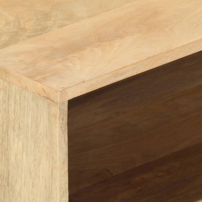 VDYU36626_FR Table basse 95x50x42 cm Bois de manguier massif Table de Salon, Table TV, Table d'Appoint avec étagère de Rangement pour Salon, Chambre,