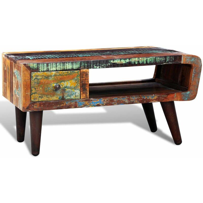 VDYU08490_FR Table basse avec bord incurvé et 1 tiroir Bois de récupération Table de Salon, Table TV, Table d'Appoint avec étagère de Rangement pour