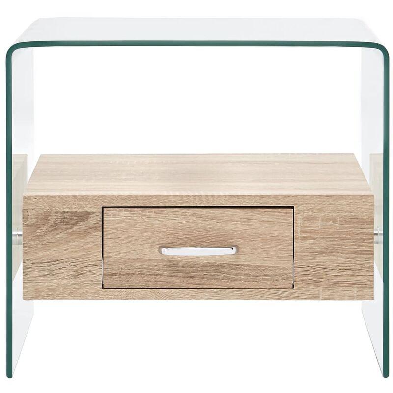 Topdeal VDYU25024_FR Table basse avec tiroir 50 x 50 x 45 cm Verre trempé Table de Salon, Table TV, Table d'Appoint avec étagère de Rangement pour