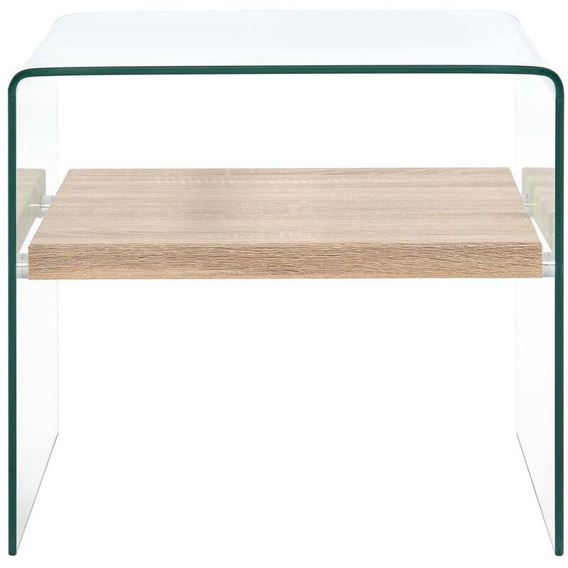 VDYU25042_FR Table basse Clair 50 x 50 x 45 cm Verre trempé Table de Salon, Table TV, Table d'Appoint avec étagère de Rangement pour Salon, Chambre,