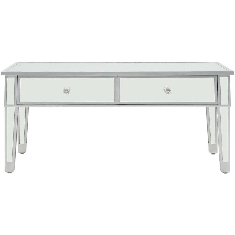 Topdeal VDYU12587_FR Table basse miroir MDF et verre 100 x 50 x 45 cm Table de Salon, Table TV, Table d'Appoint avec étagère de Rangement pour Salon,