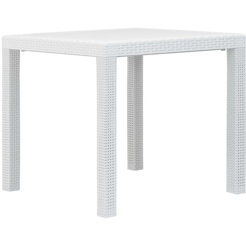 Topdeal VDTD29731_FR Table de jardin Blanc 79x79x72 cm Plastique Aspect de rotin