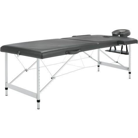Topdeal Table de massage 2 zones Cadre en aluminium Anthracite 186x68cm