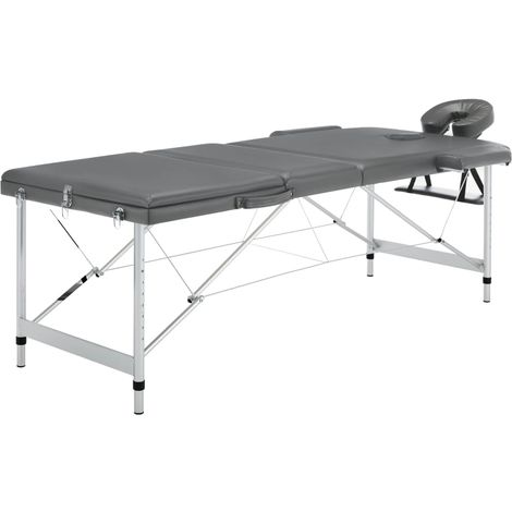 Topdeal Table de massage 3 zones Cadre en aluminium Anthracite 186x68cm