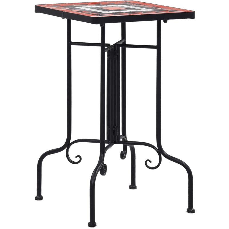 VDTD30074_FR Tables d'appoint mosaïque Terre cuite et blanc Céramique - Topdeal