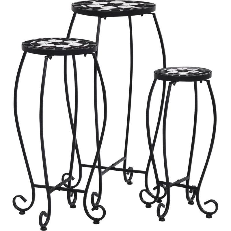 VDTD30065_FR Tables mosaïque 3 pcs Noir et blanc Céramique - Topdeal