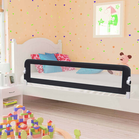 Topdeal Toddler Safety Bed Rail Taupe 180x42 cm Polyester VDTD00090