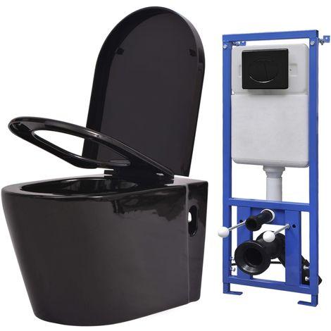 Topdeal Toilette suspendue au mur avec réservoir caché Céramique Noir