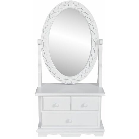 Topdeal Vanity Makeup Table with Oval Swing Mirror MDF VDTD30943