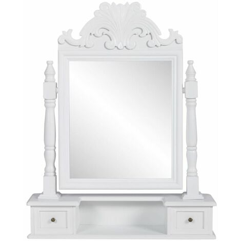 Topdeal Vanity Makeup Table with Rectangular Swing Mirror MDF VDTD30944