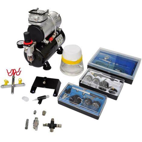 Topdeal VDTD03495_FR Kit de compresseur d'aérographe avec 3 pistolets