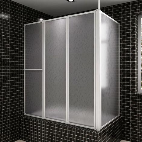 Topdeal VDTD03706_FR Pare baignoire en L à 4 volets rétractables avec porte-serviettes
