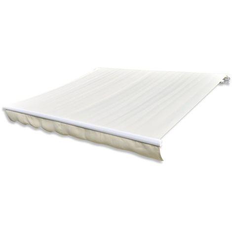 Topdeal VDTD03783_FR Tissu d'auvent Toile Crème 4 x 3 m (cadre non inclus)