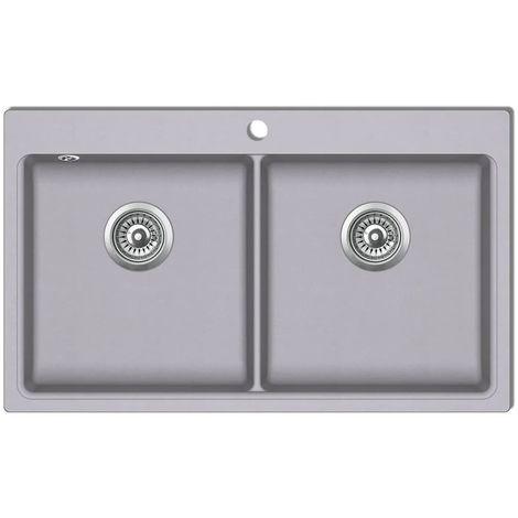 Topdeal VDTD04098_FR évier de cuisine encastrable à 2 bacs en granite blanc gris