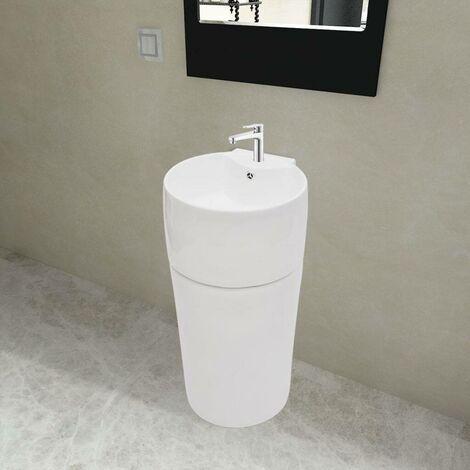 Topdeal VDTD04220_FR Vasque à trou de trop-plein/robinet céramique Blanc pour salle de bain
