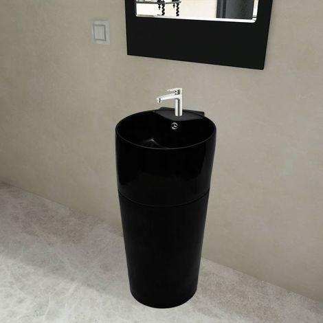 Topdeal VDTD04221_FR Vasque à trou de trop-plein/robinet céramique Noir pour salle de bain