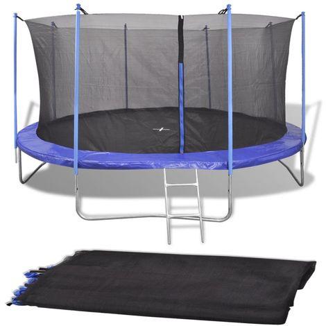 Topdeal VDTD04290_FR Filet de sécurité pour trampoline rond 3,05 m PE Noir