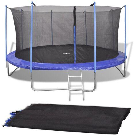 Topdeal VDTD04291_FR Filet de sécurité pour trampoline rond 3,66 m PE Noir