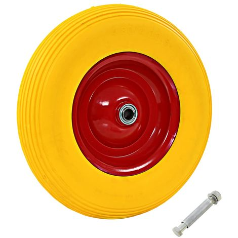 Topdeal VDTD04993_FR Roue pour brouette avec axe PU solide 4.00-8 390 mm