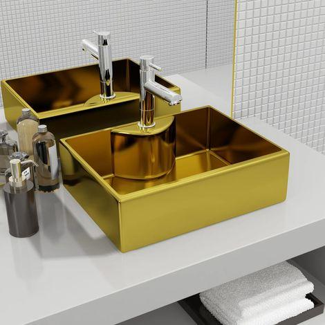 Topdeal VDTD05399_FR Lavabo avec trou pour robinet 48 x 37 x 13,5 cm Céramique Doré
