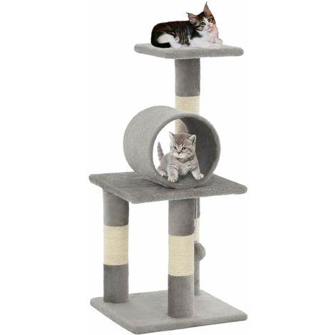 Topdeal VDTD07152_FR Arbre à chat avec griffoirs en sisal 65 cm Gris