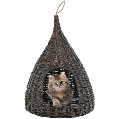Topdeal VDTD07318_FR Panier pour chats avec coussin Gris 40x60 cm Saule naturel