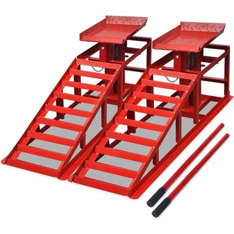 Topdeal VDTD07876_FR Rampe de levage pour voitures 2 pcs Acier rouge