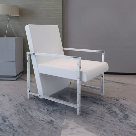 Topdeal VDTD08489_FR Fauteuil avec pieds chromés Blanc Similicuir