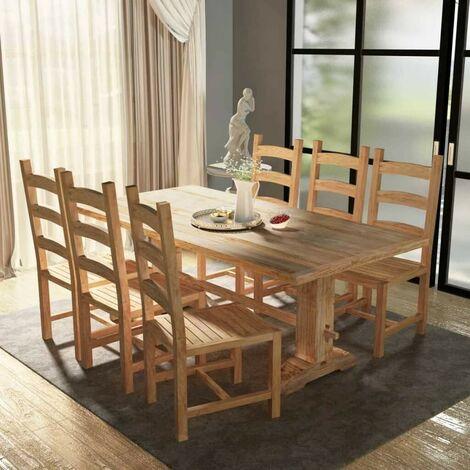 Topdeal VDTD10237_FR Table et chaises de salle à manger massives 7 pièces Teck