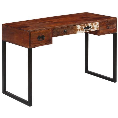 Topdeal VDTD10875_FR Bureau Bois de Sesham massif et cuir véritable 117x50x76 cm