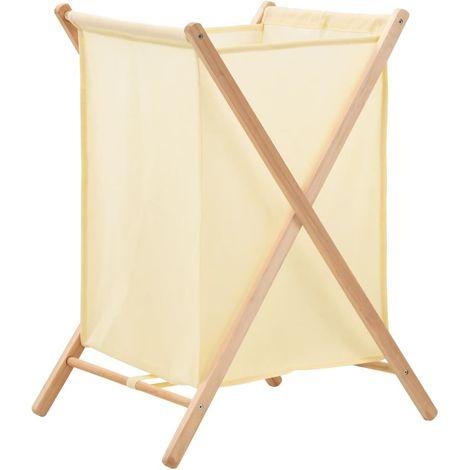 Topdeal VDTD12371_FR Panier à linge Bois de cèdre et textile Beige 42 x 41 x 64 cm