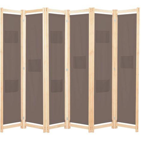 Topdeal VDTD13991_FR Cloison de séparation 6 panneaux Marron 240 x 170 x 4 cm Tissu