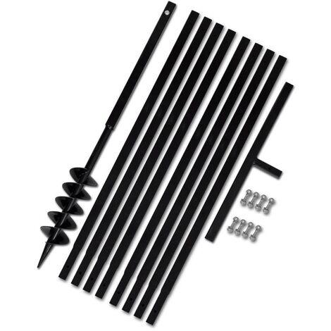 Topdeal VDTD14929_FR Bêche et tarière manuelle 100 mm Avec Rallonge mèche tarière 9 m