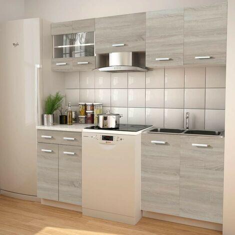 Topdeal VDTD18419_FR Meubles de cuisine 5 pcs avec hotte Aspect de chêne