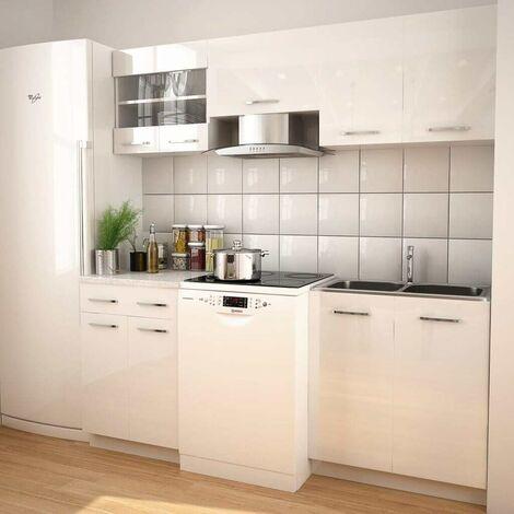 Topdeal VDTD18427_FR Ensemble d'armoires de cuisine 5 pcs avec hotte Blanc brillant