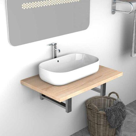 Topdeal VDTD24466_FR Meuble de salle de bain Chêne 60x40x16,3 cm