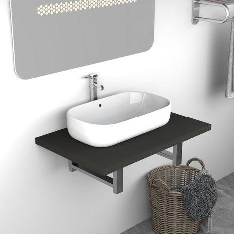 Topdeal VDTD24467_FR Meuble de salle de bain Gris 60x40x16,3 cm