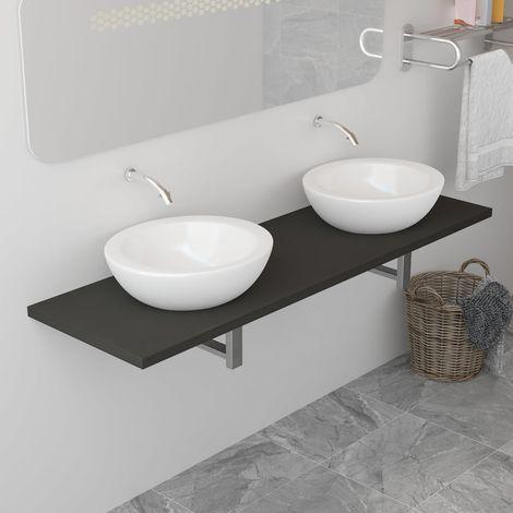 Topdeal VDTD24479_FR Meuble de salle de bain Gris 160x40x16,3 cm