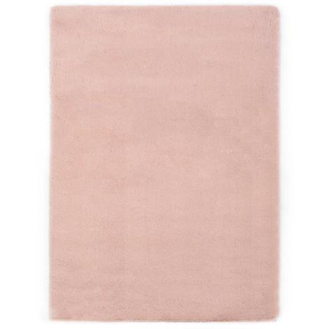 Topdeal VDTD25383_FR Tapis 160x230 cm Fausse fourrure de lapin Vieux rose