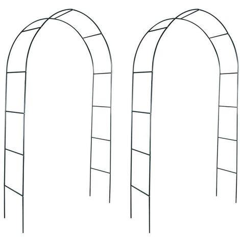 Topdeal VDTD26243_FR Arche de jardin 2 pcs pour plantes grimpantes