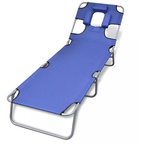 Topdeal VDTD26524_FR Chaise longue avec coussin de tête Acier enduit de poudre Bleu