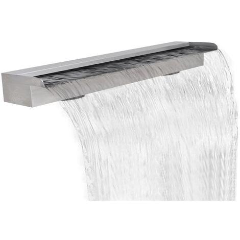 Topdeal VDTD26636_FR Lame d'eau rectangulaire pour piscine en acier inoxydable 150 cm