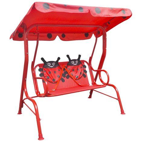 Topdeal VDTD26720_FR Siège balançoire pour enfants Rouge