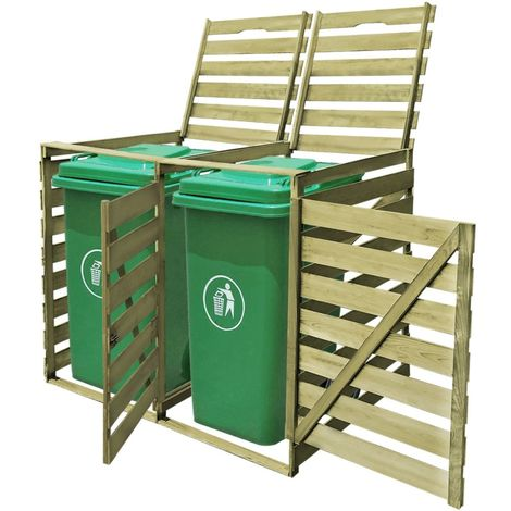 Topdeal VDTD26895_FR Abri pour poubelle double 240 L Bois imprégné FSC