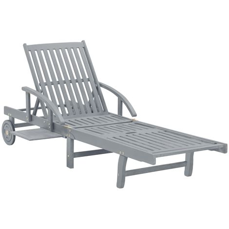 Topdeal VDTD29915_FR Chaise longue de jardin Gris Bois d'acacia solide