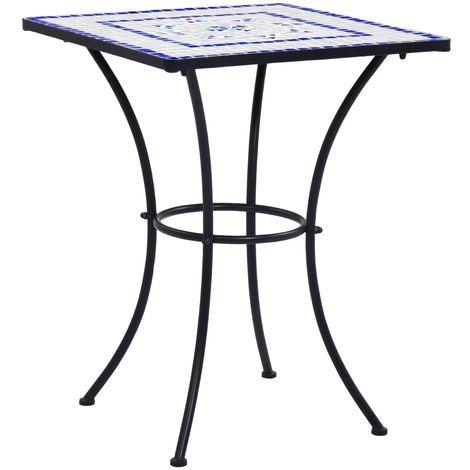 Topdeal VDTD30068_FR Table de bistro mosaïque Bleu et blanc 60 cm Céramique