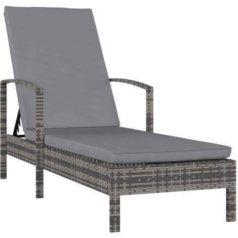 Topdeal VDTD30286_FR Chaise longue avec accoudoirs Résine tressée Gris