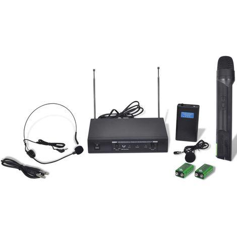 Topdeal VDTD30357_FR Récepteur avec 1 microphone sans fil et 1 casque sans fil VHF