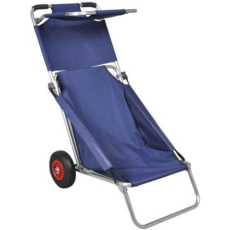 Topdeal VDTD32010_FR Chariot de plage avec roues portable et pliable Bleu