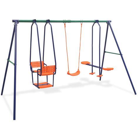 Topdeal VDTD32440_FR Ensemble de balançoires avec 5 sièges Orange